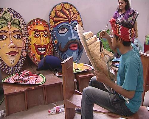 A student of the Faculty of Fine Art painting a mask for use in Mangal Shobhajatra on Pahela Baishakh. The activists carry a wide range of colourful masks when they participate in the vibrant procession on 14 April.
