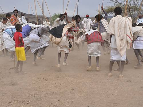 Dhichisa, a traditional dancing in which men perform fast and high jumps during the Gada Power transfer ceremony and other rituals in connection with the System. In this dancing, those who accomplish heroic deeds including the Gada officials are praised.