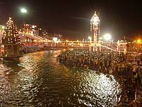 Night shot of Haridwar Ardh Kumbh Mela