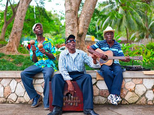 Group of local musicians, Saint Ann, North Coast of Jamaica.